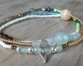 Beaded wrap bracelet, anklet, layering necklace, stretch bracelet, Boho jewelry, labradorite, moonstone, Delicate, Beach style, Surfer