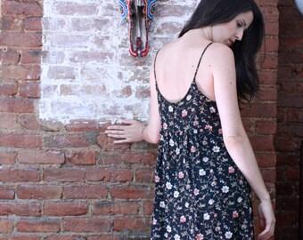 Black Empire Waist Floral Sun Dress ~ Medium