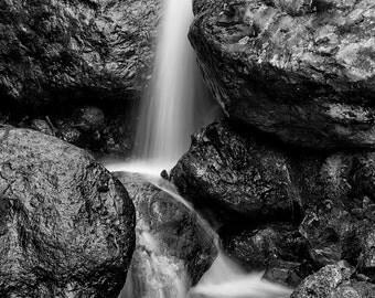Landscape Photography, Waterfall, Wet Rocks, Summer, Mount Rainier, Fine Art Black and White Photography, Wall Art, Home Decor