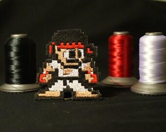 Pixel art Street Fighter Ryu Shiny Metallic Embroidery Iron On patch.