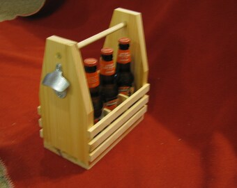 Wooden 6 pack carrier, Beer holder