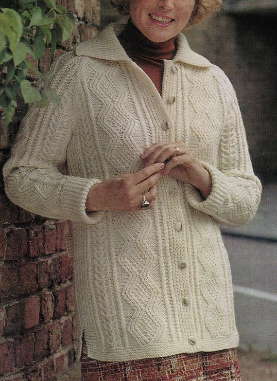 Vintage Aran Cardigan Knitting Pattern : Vintage Knitting Pattern Instructions to Make by ...