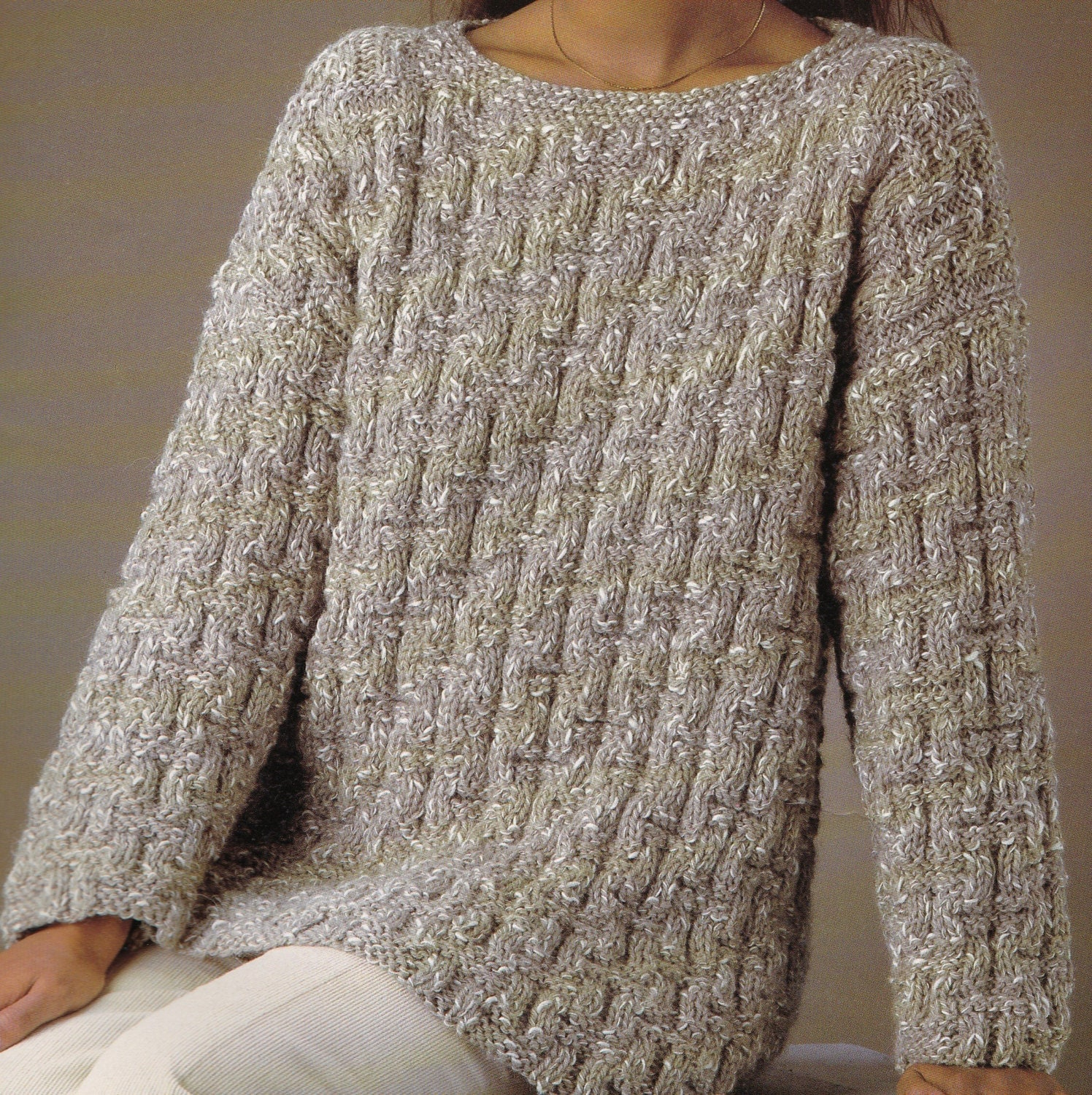 Knitting Pattern Jumper Ladies : Vintage Knitting Pattern Instructions to Make Ladies Chunky Jumper in 6 Sizes...