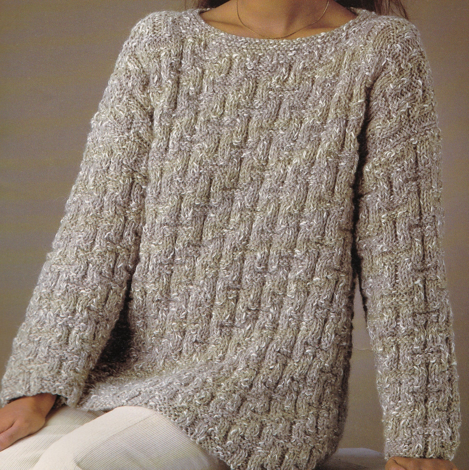Chunky Knit Jumper Pattern Free : Vintage Knitting Pattern Instructions to Make Ladies Chunky Jumper in 6 Sizes...