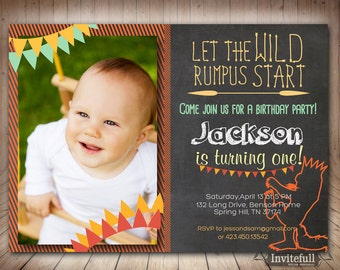 Where the wild things are Invitation with Photo, Boy or Girl Birthday Invitation, 1st birthday invitation, Wild Rumpus Invitation
