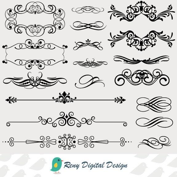 Calligraphy Digital Clip Art Vintage Design Elements Printable