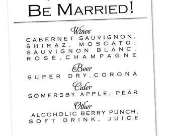 Wedding Reception Bar Menu {Digital File}