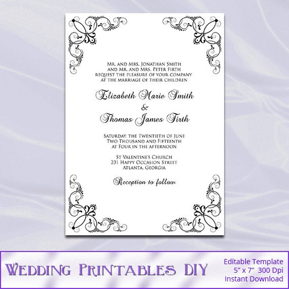 Black White Wedding Invitations Template Diy Birthday Bridal – Black and White Wedding Invitations Templates