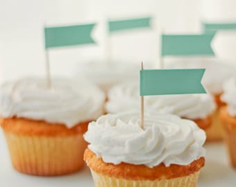 12 Cupcake Topper Flags | Food Labels | Wedding Flag Labels