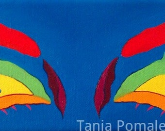 """12"""" x 4"""" Bright Eyed original oil painting on gallery wrapped canvas"""