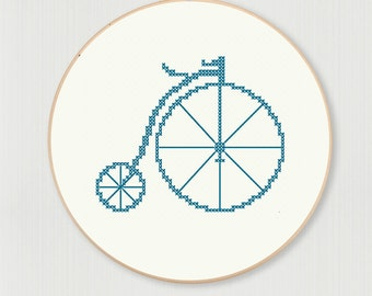 Pennyfarthing bicycle cross stitch pattern, instant digital download