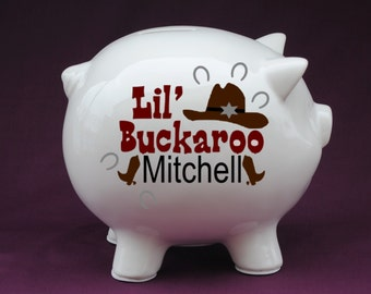 Lil' Buckaroo Cowboy Personalized Piggy Bank with Vinyl Decal-Great Custom Piggy Bank gift for baby showers,new baby gifts,baby baptisms.