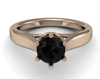14k Rose Gold Black Diamond Ring, Rose Gold Wedding Ring, Solitaire Ring, Black Diamond Ring
