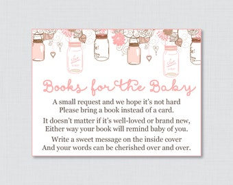 Mason Jar Baby Shower Bring A Book Instead Of A Card Invitation Inserts    Printable Instant