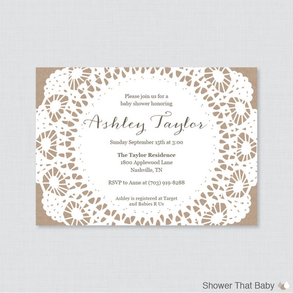 burlap and lace baby shower invitations printable or printed invite