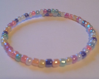 Multicolored Light Pastel Seed Beads Single Wrap Silver Memory Wire Bracelet, Colorful Bangle