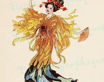 Oriental Flair Chrysanthemum Flower Children Graphic Instant Download