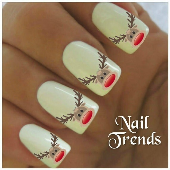 Rennes des ongles autocollant 20 vinyle adh sif stickers no l for Decoration ongle noel
