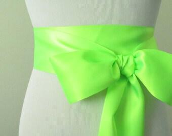 Key Lime Ribbon Sash / Double Faced Ribbon Sash / Bridal Sash / Bridal Ribbon / Key Lime