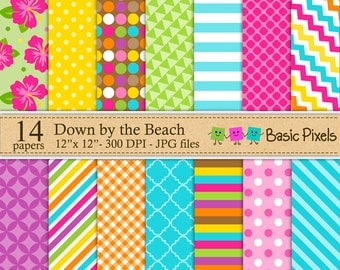 Down by the Beach 2 Digital Papers - Patterns - Backgrounds - Personal and commercial use