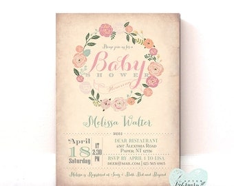 Baby Shower Invitation - Baby Girl Shower Invite - Cottage Chic Baby Shower - Vintage Peach Background - Printable OR Printed No.30BABY