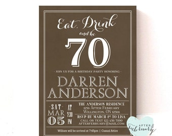 ANY AGES 70th Birthday Party Invitation Adult Birthday Invite-  Printable No.310BDAY