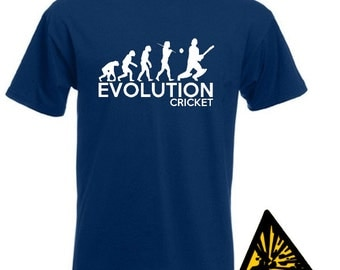 Evolution Of Man From Ape To Cricket T-Shirt Joke Funny Cricketer