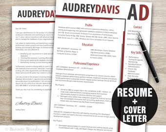 sleek design resume template resume cover letter template professional resume instant download