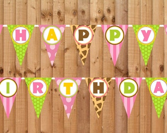 Wild Safari Pink Happy Birthday Banner- INSTANT DOWNLOAD - Printable Party Decorations