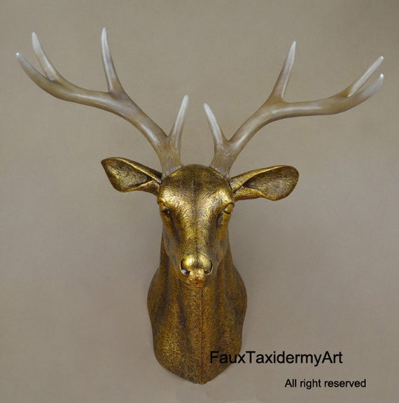 Plastic Deer Head Wall Decor : Large antique gold faux deer head resin antlers