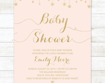 pink and gold baby shower invitation blush pink and gold glitter hearts printable modern chic shower digital invite customizable