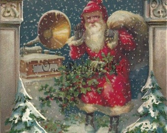 Vintage Christmas Postcard, Vintage Postcard, Santa Claus with a Gramaphone, Christmas Download, Postcard Image, INSTANT download