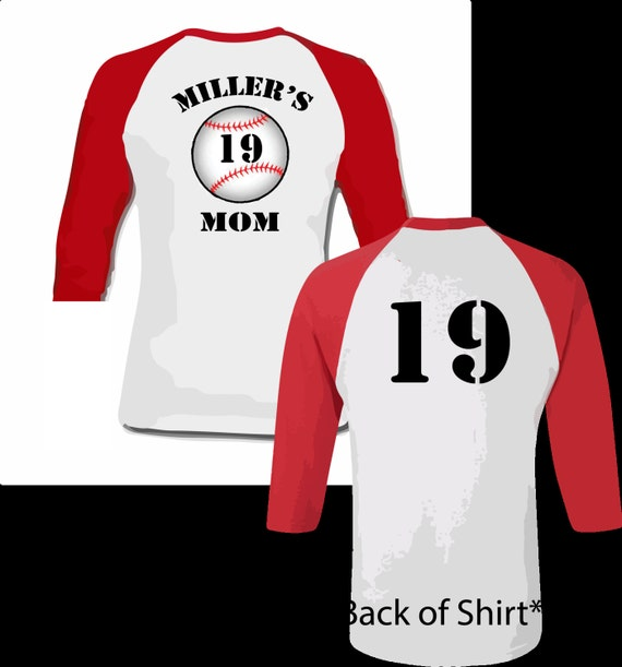 Personalized baseball mom shirt front and back raglan for Custom raglan baseball shirt