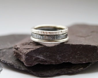 Power Of Three Sterling Silver Stacking Rings - stacking rings, hammered, silver bands, oxidised, stackable, ombre, modern, minimal, layer