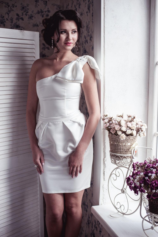 Black friday one shoulder pleated tulip skirt short wedding for Black friday wedding dress