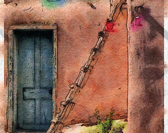 Pueblo Ladder, New Mexico: Photo Watercolor Art of the Famous Pueblo Outside of Taos, New Mexico
