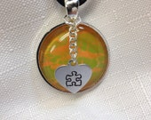Autism awareness jewelry-autism awareness necklace hand-painted crackle medium awareness necklace with hand stamped heart charm fre shipping