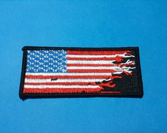 Iron on Sew on Patch:  American Flag after Zombies