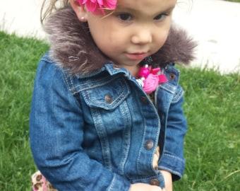 Hot pink chiffon flower on a pink elastic headband, foe, baby girl headband, newborn headband, toddler headband, photo prop, ballerina