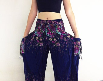 Women Trouser Pants Yoga Pants Aladdin Pants Maxi Pants Baggy Pants Gypsy Pant Rayon Clothing Hippy Pants Trouser Flower Navy Blue (TS26)