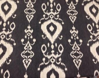 Charcoal Gray Ikat - Tullahoma Fabric - Ikat Upholstery Fabric - - Modern Ikat