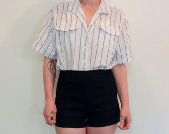 80s thin soft white cotton button-up with grey/blue stripes boxy cut chest pockets menswear modest office casual