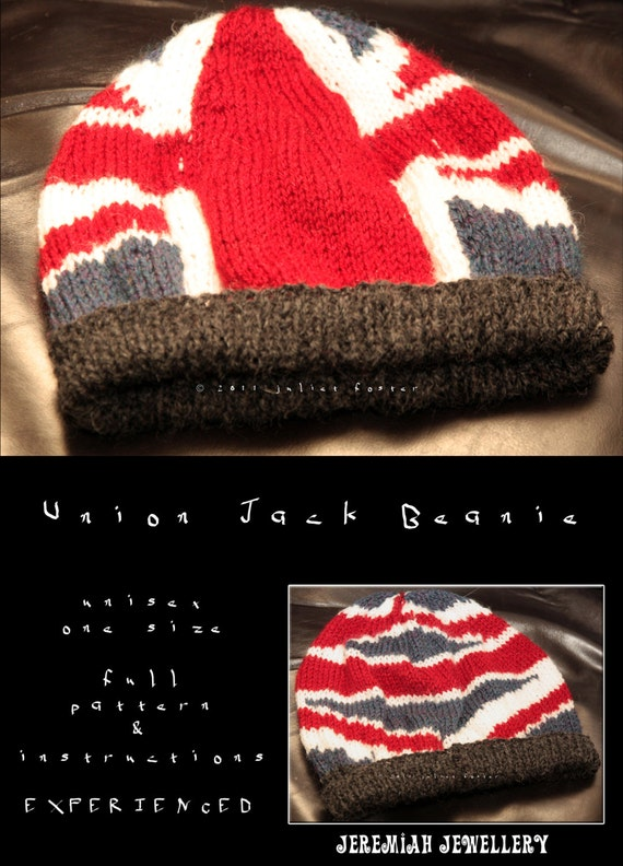 Knitting Pattern For Union Jack : Union Jack Beanie Knitting Pattern // PDF .MOBI // Experienced