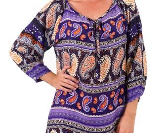 Day Dress Long Sleeve Rayon – Eva Purple Stripe