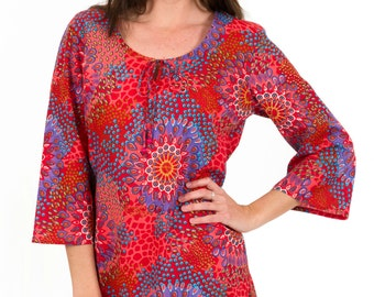 Beach Cover Up or Kaftan Dress in 100% Cotton  – Reef Coral