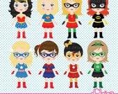 Super Girls, comic girl, super girl, superhero clipart & printable