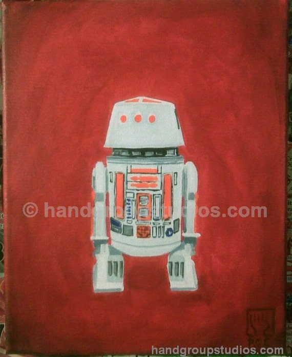 """Star Wars R5D4 Red Droid Toy Figure Painting """"Bad Motivator"""" Original Artwork by Pete Coe"""