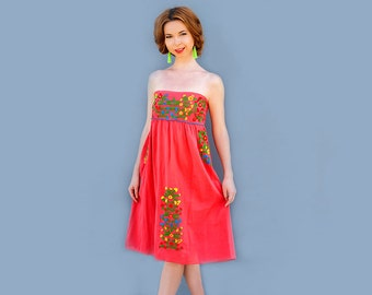 Sangria For Me Red Mexican Dress Embroidered