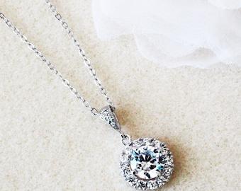 Crystal Bridal Necklace Wedding Necklace Crystal Necklace Bridesmaid Gifts Bridesmaid Necklace Round CZ Necklace Wedding Jewelry