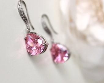 Pink Earrings Pink Crystal Earrings Drop Earrings Pink Bridesmaid Earrings Pink Wedding Bridesmaids Gifts Bridesmaid Jewelry